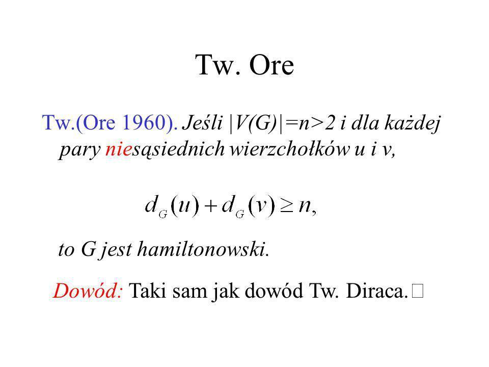 Tw. Ore Tw.(Ore 1960). Jeśli |V(G)|=n>2 i dla każdej pary niesąsiednich wierzchołków u i v, to G jest hamiltonowski.