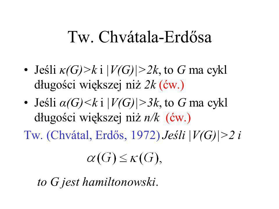 Tw. Chvátala-Erdősa Jeśli κ(G)>k i |V(G)|>2k, to G ma cykl długości większej niż 2k (ćw.)
