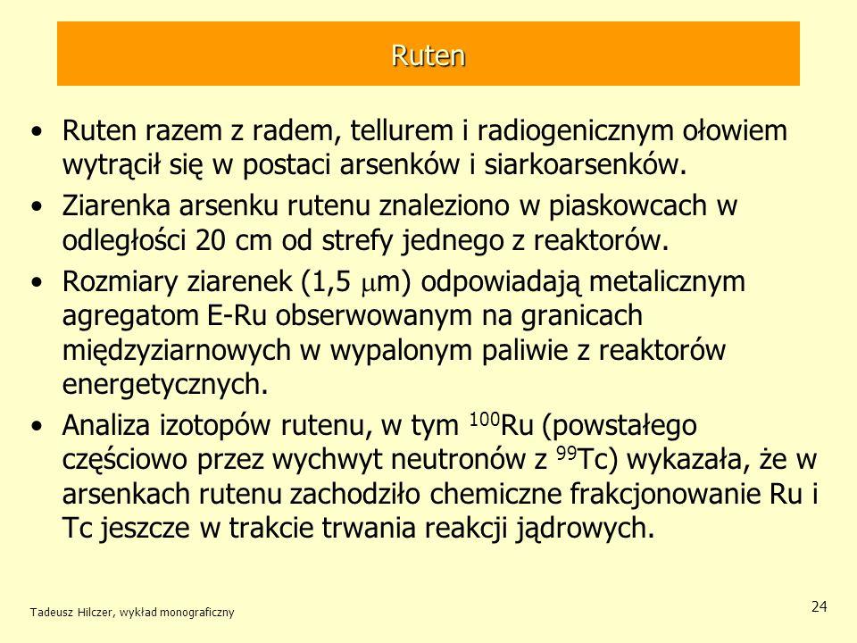 Ruten Ruten razem z radem, tellurem i radiogenicznym ołowiem wytrącił się w postaci arsenków i siarkoarsenków.