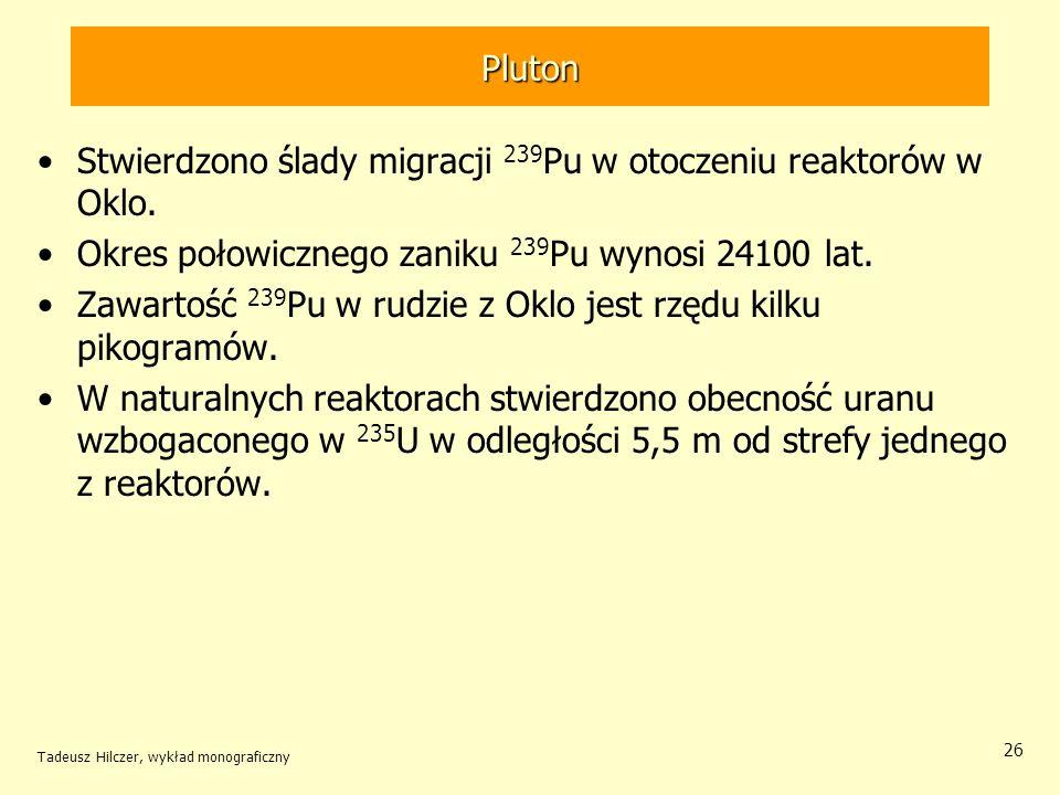 Stwierdzono ślady migracji 239Pu w otoczeniu reaktorów w Oklo.