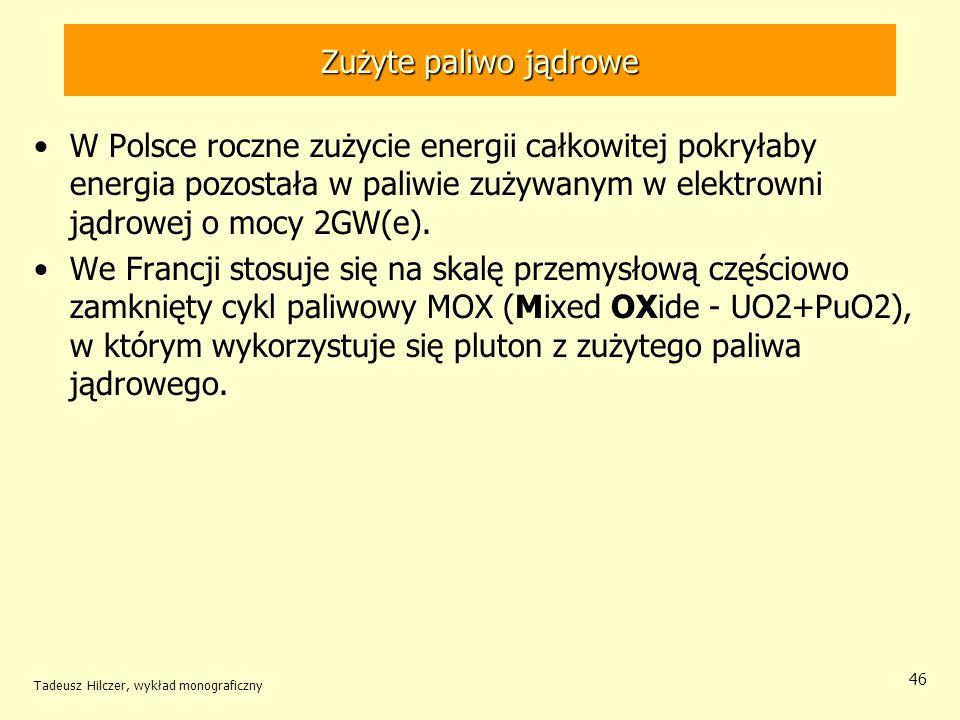 Zużyte paliwo jądrowe W Polsce roczne zużycie energii całkowitej pokryłaby energia pozostała w paliwie zużywanym w elektrowni jądrowej o mocy 2GW(e).