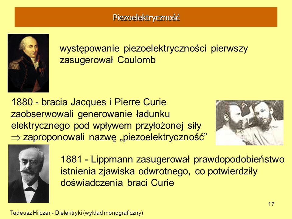występowanie piezoelektryczności pierwszy zasugerował Coulomb