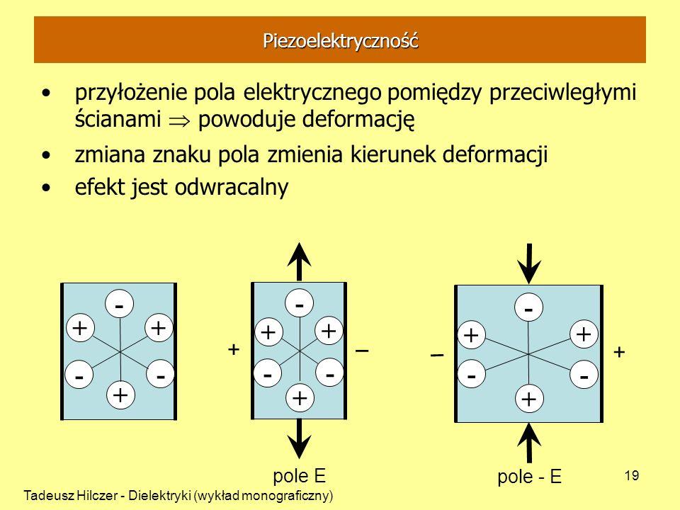 Piezoelektrycznośćprzyłożenie pola elektrycznego pomiędzy przeciwległymi ścianami  powoduje deformację.