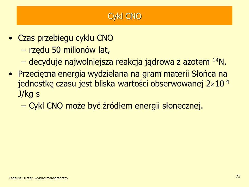 Czas przebiegu cyklu CNO rzędu 50 milionów lat,