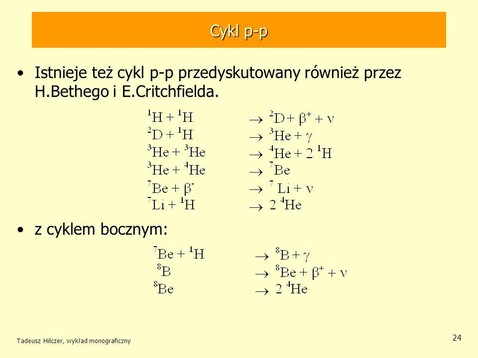 Cykl p-p Istnieje też cykl p-p przedyskutowany również przez H.Bethego i E.Critchfielda. z cyklem bocznym: