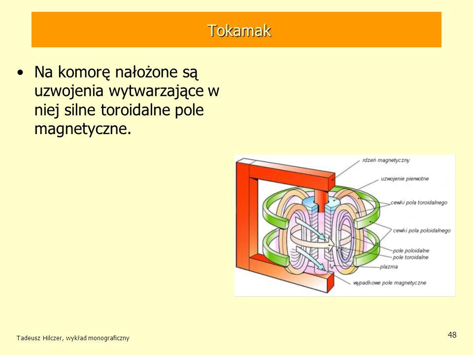 TokamakNa komorę nałożone są uzwojenia wytwarzające w niej silne toroidalne pole magnetyczne.