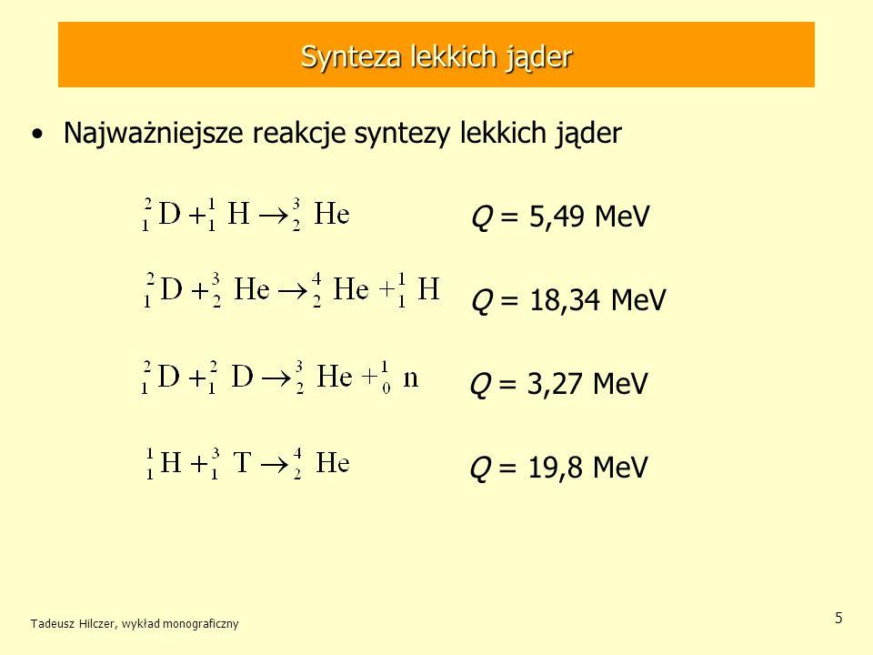 Najważniejsze reakcje syntezy lekkich jąder Q = 5,49 MeV Q = 18,34 MeV