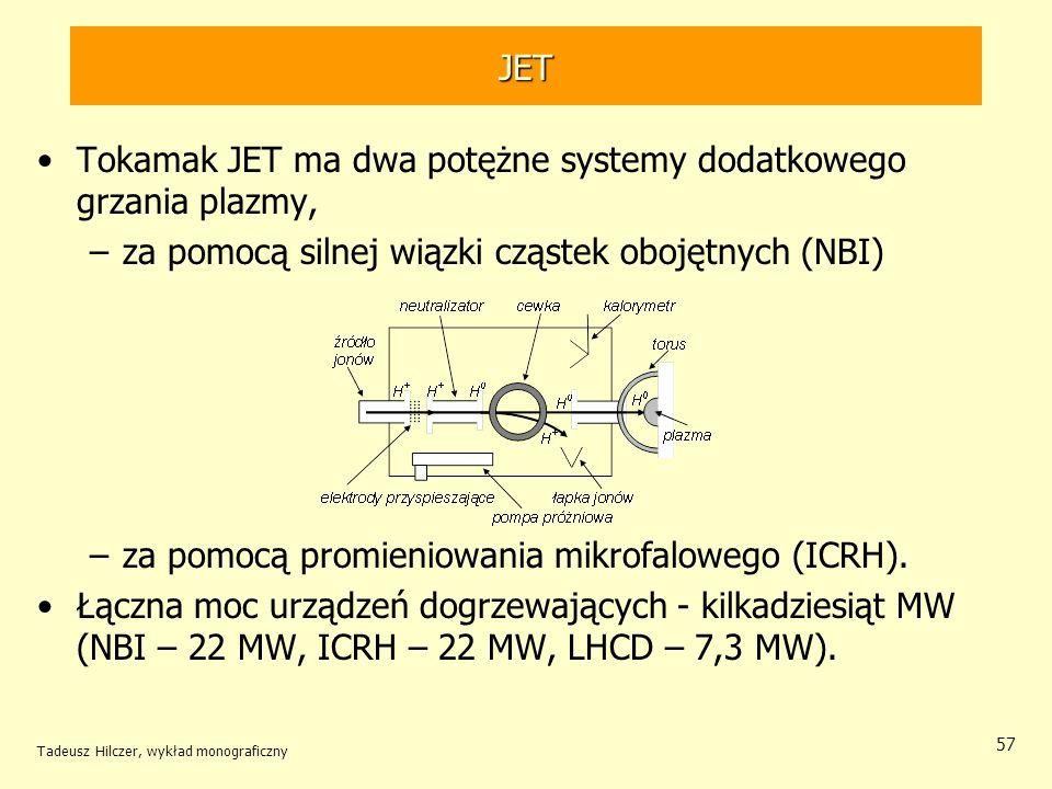 Tokamak JET ma dwa potężne systemy dodatkowego grzania plazmy,