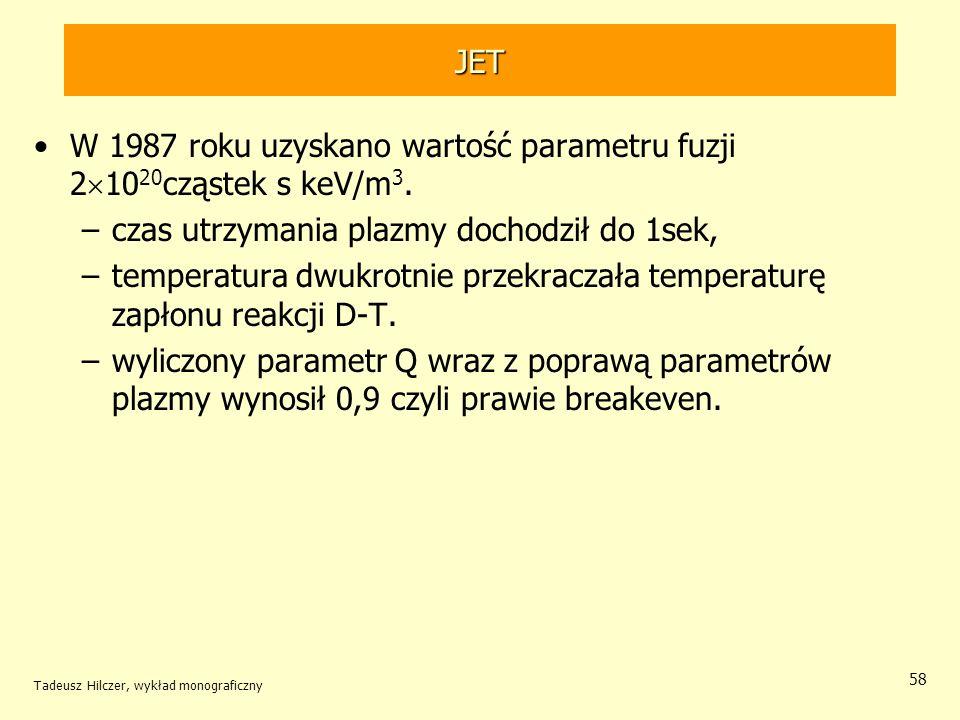 W 1987 roku uzyskano wartość parametru fuzji 21020cząstek s keV/m3.