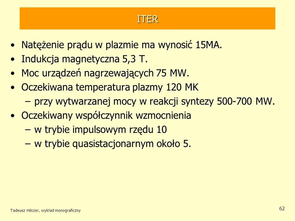 Natężenie prądu w plazmie ma wynosić 15MA. Indukcja magnetyczna 5,3 T.
