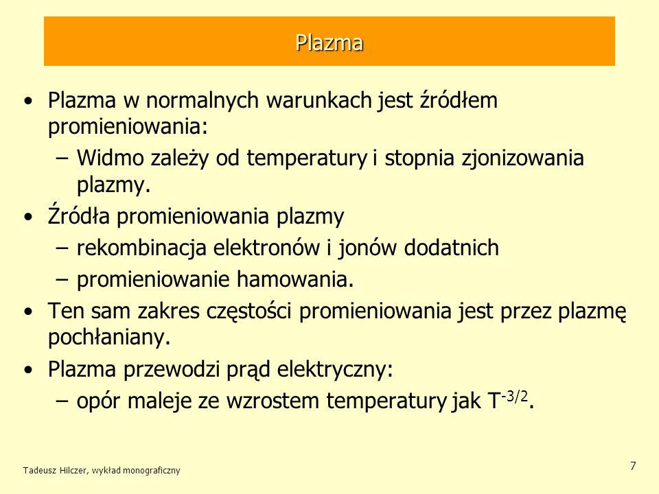 Plazma w normalnych warunkach jest źródłem promieniowania: