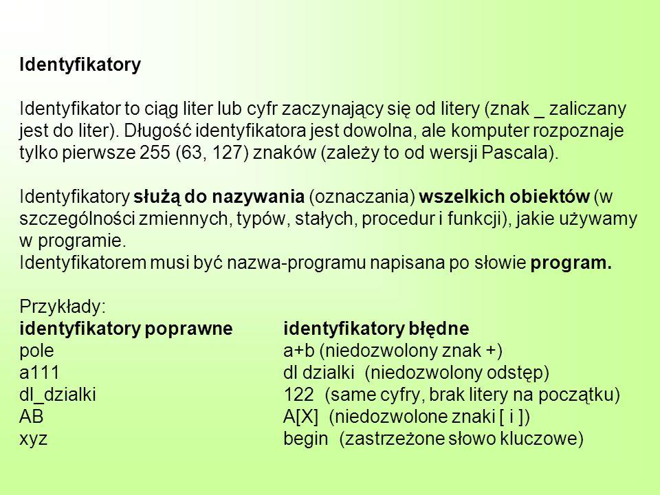 Identyfikatory Identyfikator to ciąg liter lub cyfr zaczynający się od litery (znak _ zaliczany jest do liter).