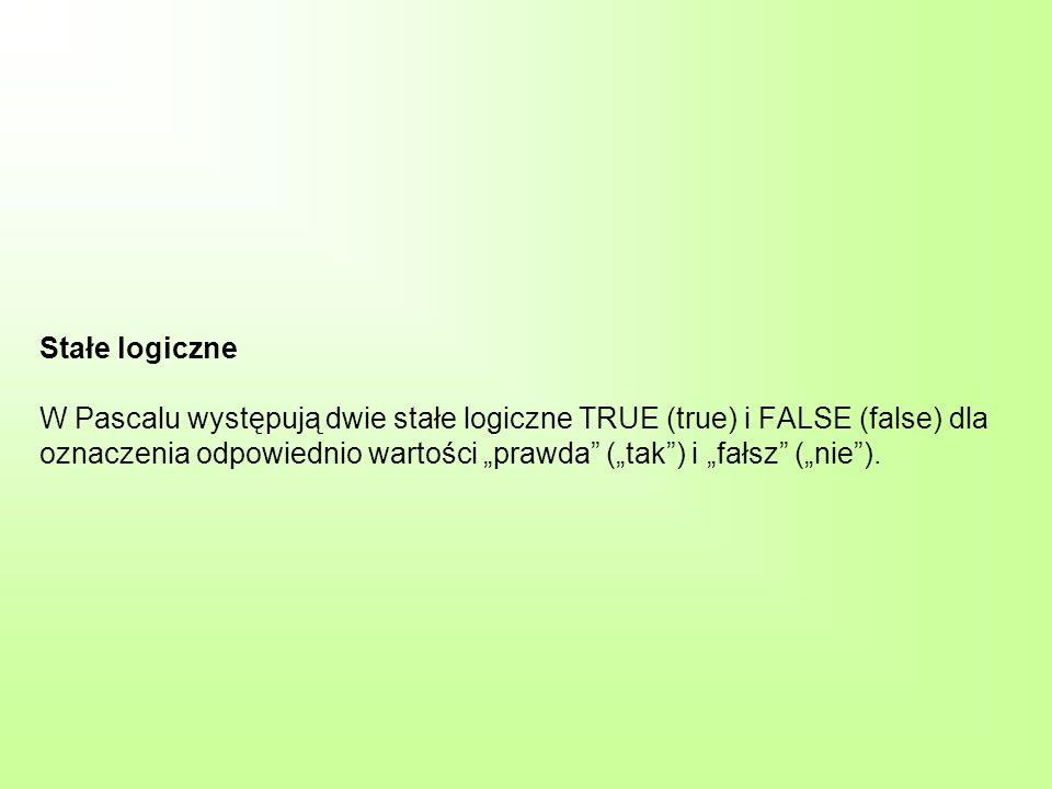"""Stałe logiczne W Pascalu występują dwie stałe logiczne TRUE (true) i FALSE (false) dla oznaczenia odpowiednio wartości """"prawda (""""tak ) i """"fałsz (""""nie )."""
