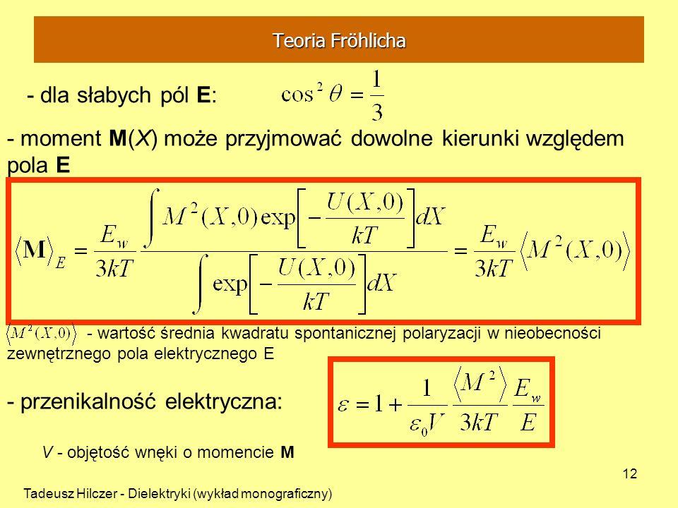 - moment M(X) może przyjmować dowolne kierunki względem pola E