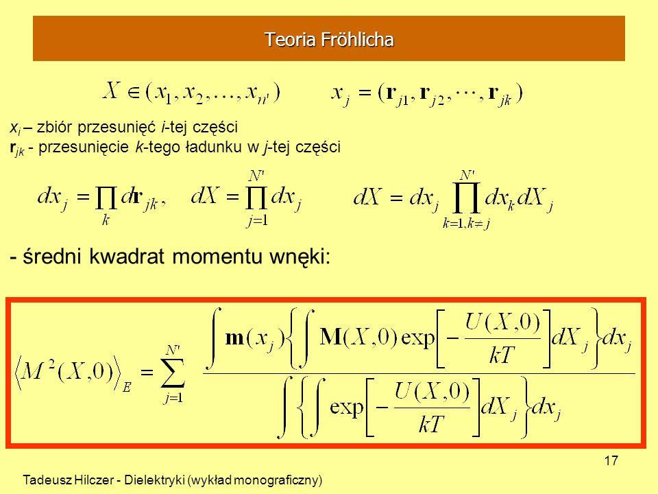 - średni kwadrat momentu wnęki: