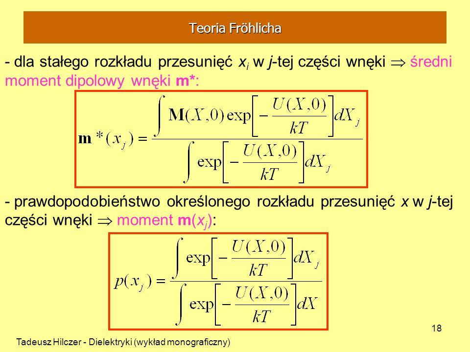 Teoria Fröhlicha - dla stałego rozkładu przesunięć xi w j-tej części wnęki  średni moment dipolowy wnęki m*: