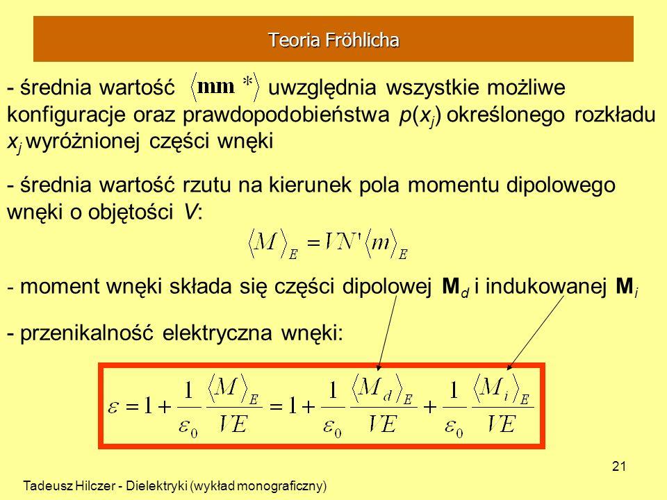 - moment wnęki składa się części dipolowej Md i indukowanej Mi