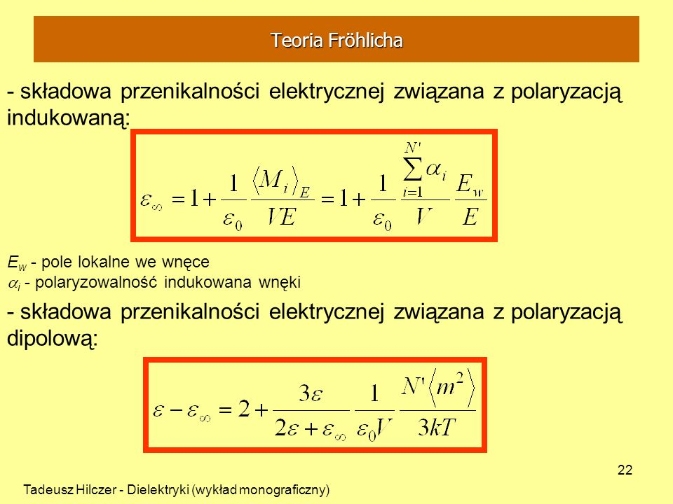 Teoria Fröhlicha - składowa przenikalności elektrycznej związana z polaryzacją indukowaną: Ew - pole lokalne we wnęce.