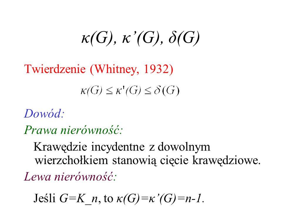 κ(G), κ'(G), δ(G) Twierdzenie (Whitney, 1932) Dowód: Prawa nierówność: