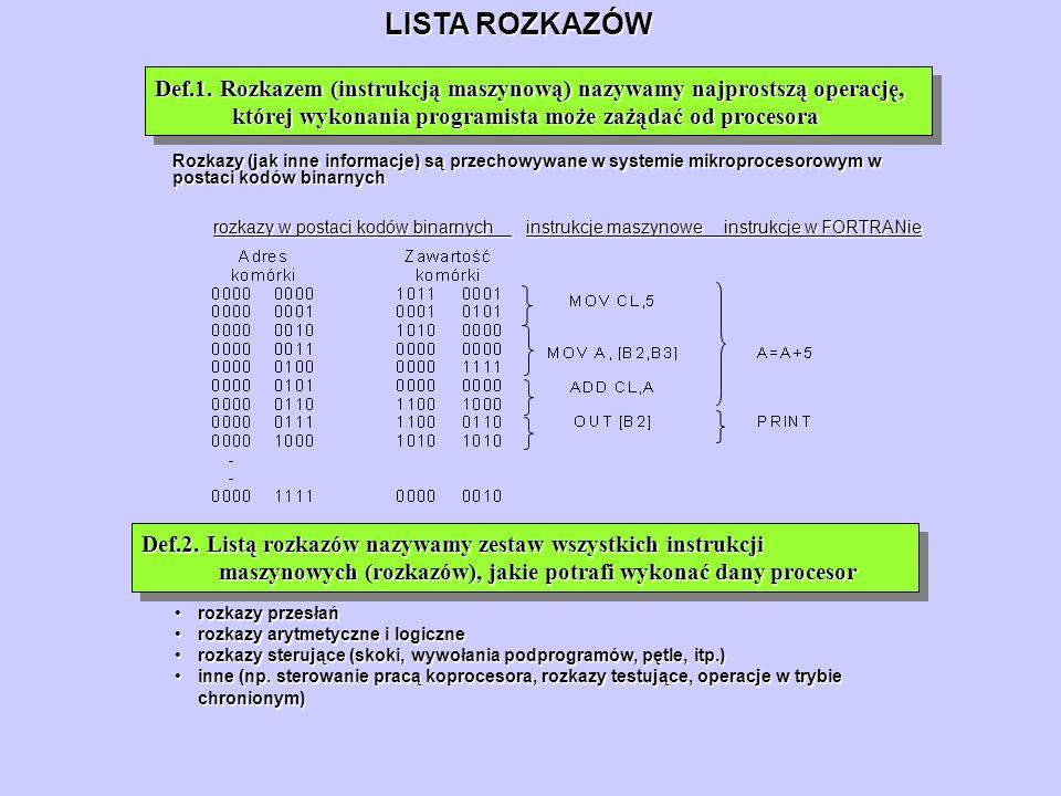 LISTA ROZKAZÓW Def.1. Rozkazem (instrukcją maszynową) nazywamy najprostszą operację, której wykonania programista może zażądać od procesora.
