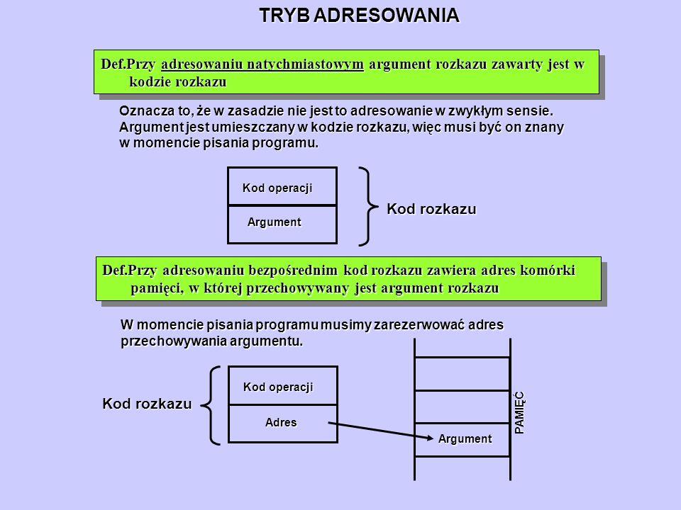TRYB ADRESOWANIA Def.Przy adresowaniu natychmiastowym argument rozkazu zawarty jest w kodzie rozkazu.