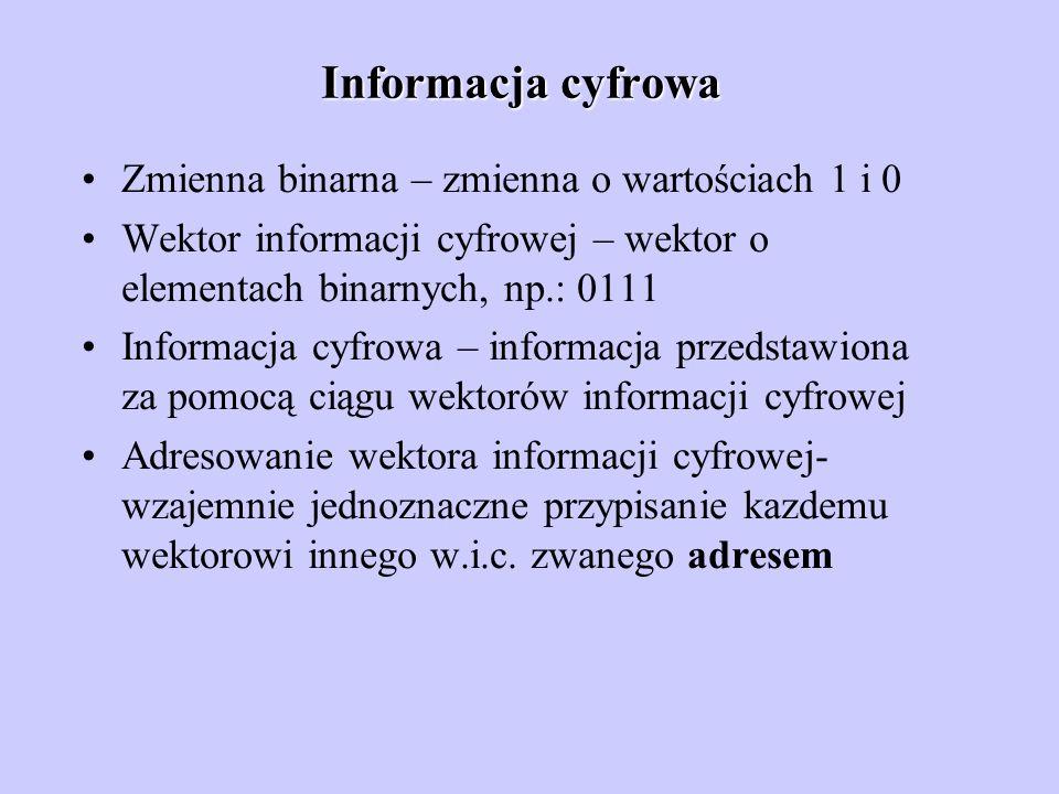 Informacja cyfrowa Zmienna binarna – zmienna o wartościach 1 i 0