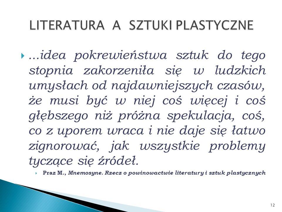 LITERATURA A SZTUKI PLASTYCZNE