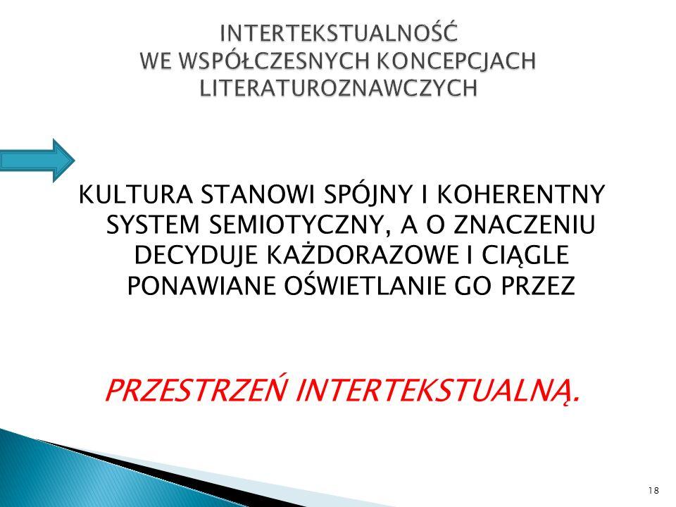 INTERTEKSTUALNOŚĆ WE WSPÓŁCZESNYCH KONCEPCJACH LITERATUROZNAWCZYCH