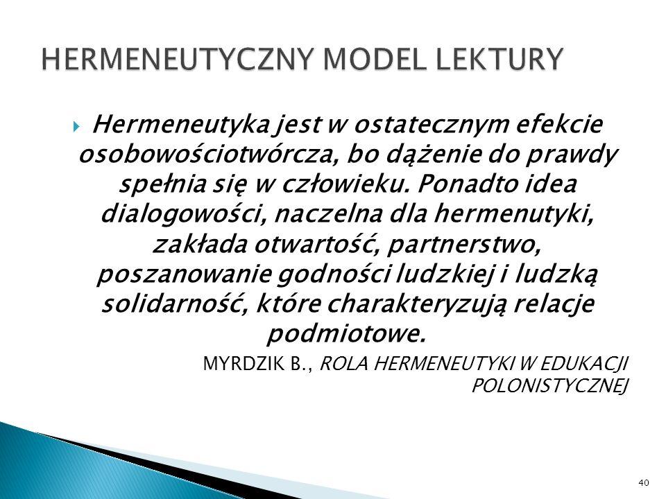 HERMENEUTYCZNY MODEL LEKTURY