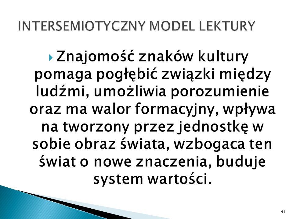 INTERSEMIOTYCZNY MODEL LEKTURY