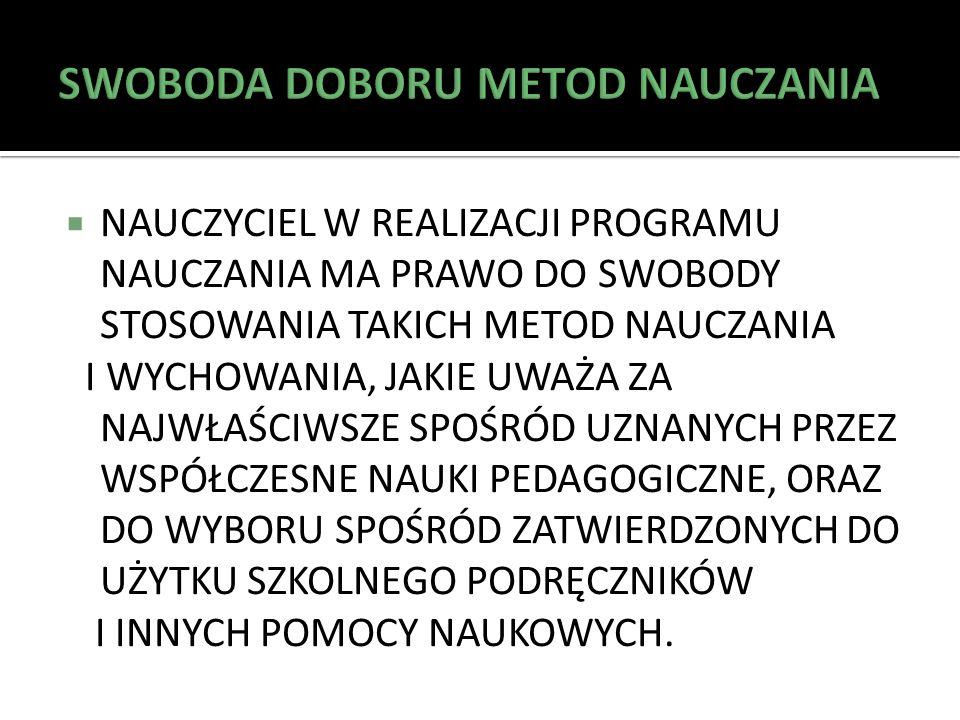 SWOBODA DOBORU METOD NAUCZANIA