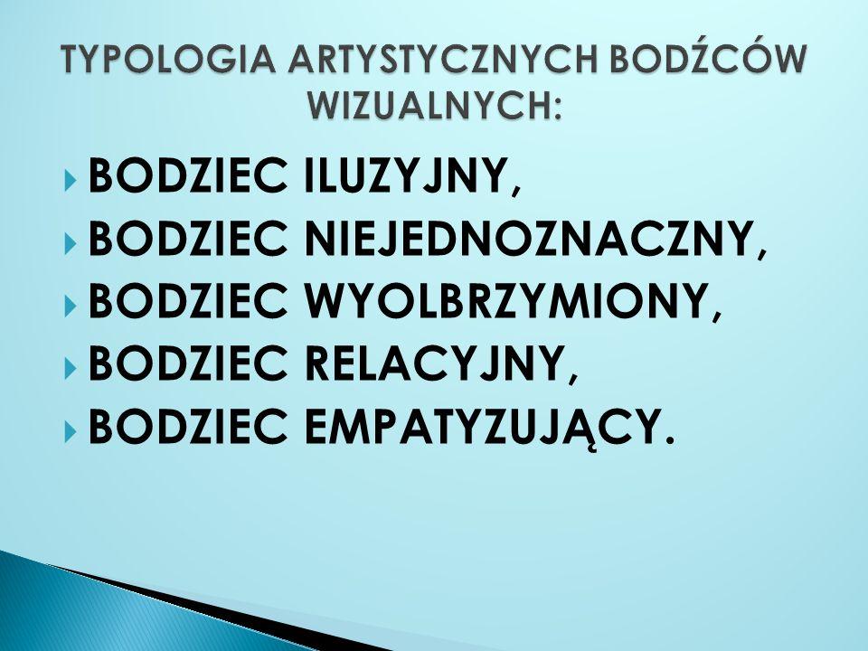 TYPOLOGIA ARTYSTYCZNYCH BODŹCÓW WIZUALNYCH: