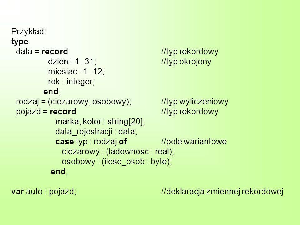 Przykład: type data = record. //typ rekordowy. dzien : 1. 31;