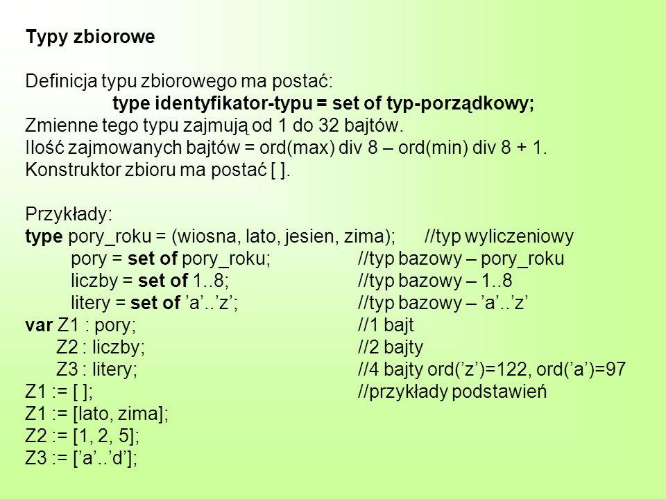 Typy zbiorowe Definicja typu zbiorowego ma postać: