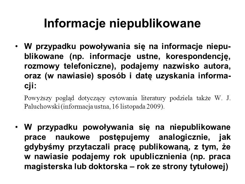Informacje niepublikowane