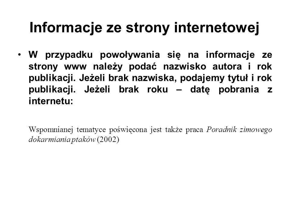 Informacje ze strony internetowej