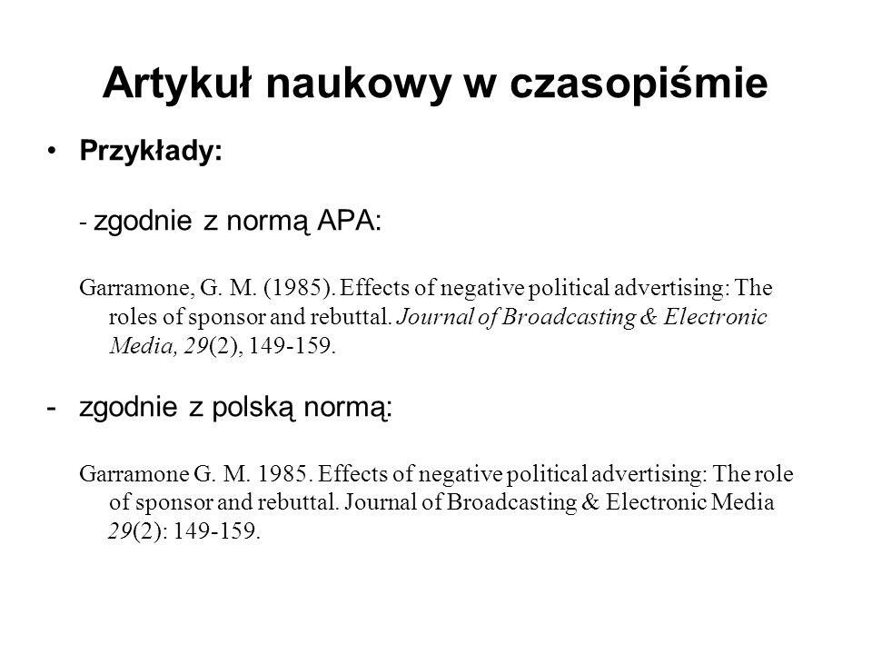 Artykuł naukowy w czasopiśmie