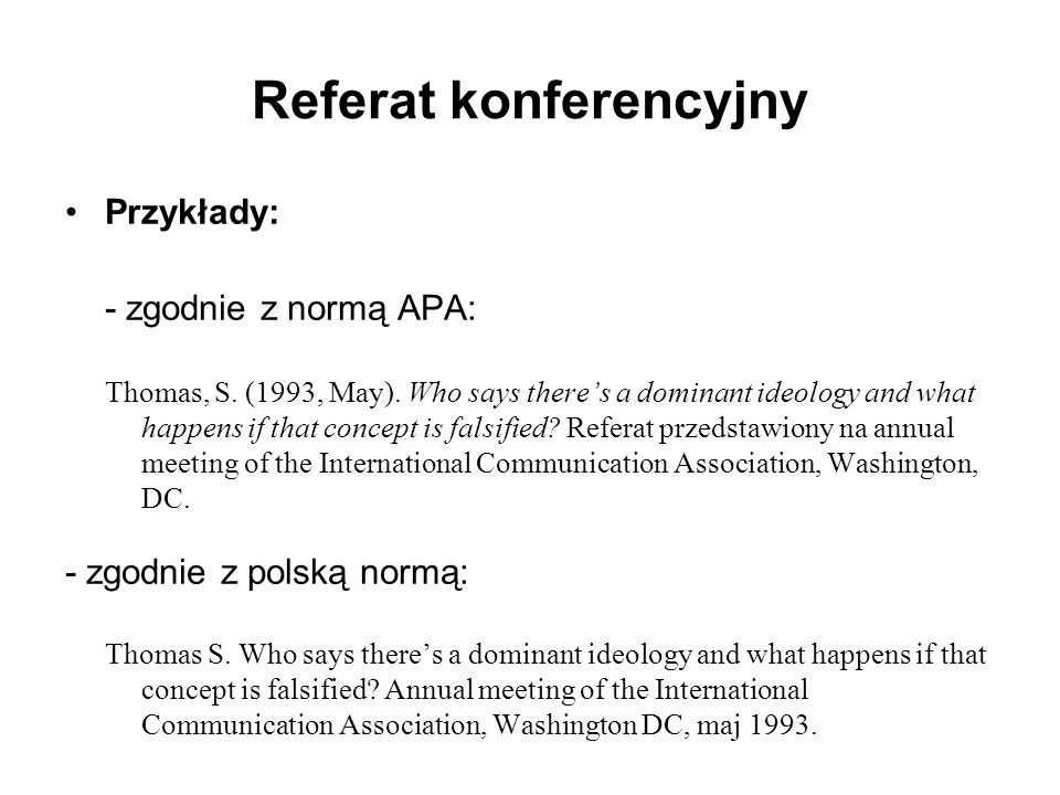 Referat konferencyjny