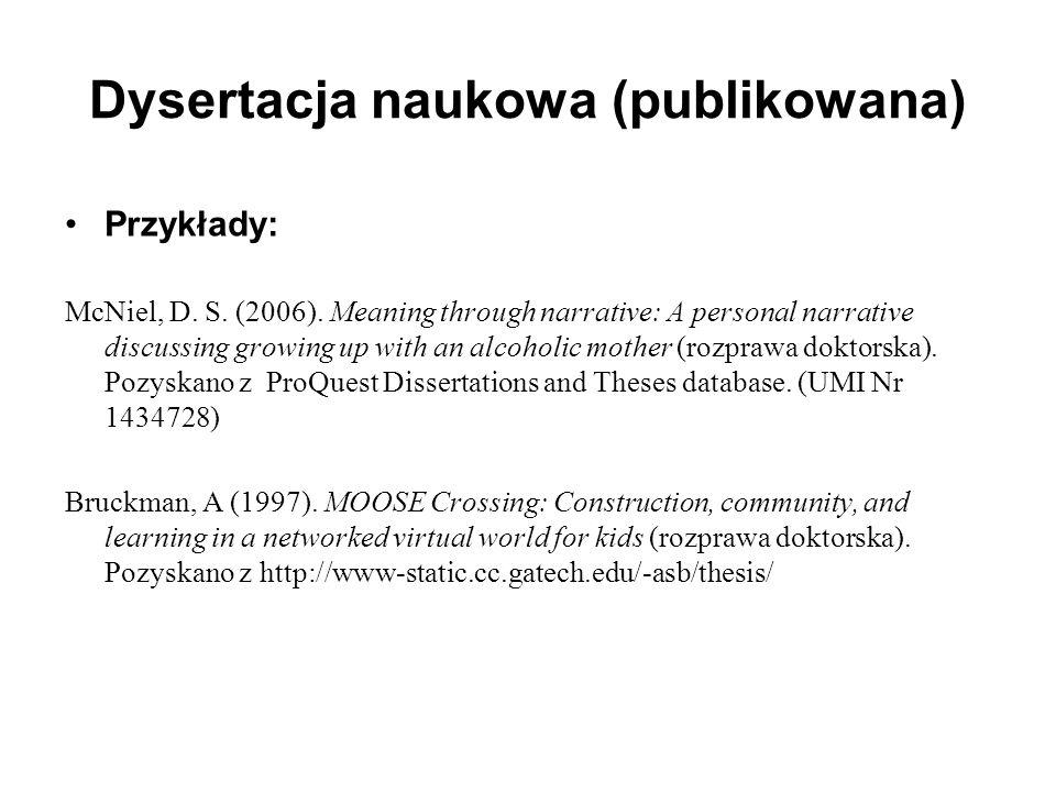 Dysertacja naukowa (publikowana)