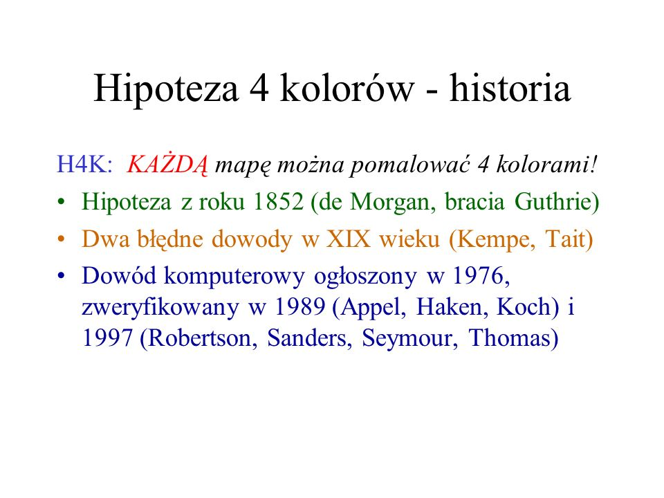 Hipoteza 4 kolorów - historia