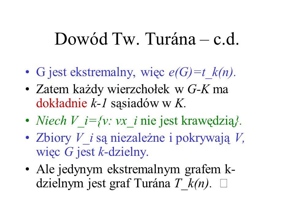 Dowód Tw. Turána – c.d. G jest ekstremalny, więc e(G)=t_k(n).