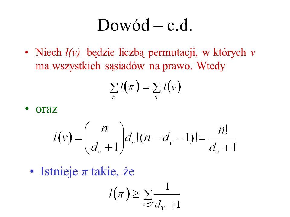 Dowód – c.d. oraz Istnieje π takie, że