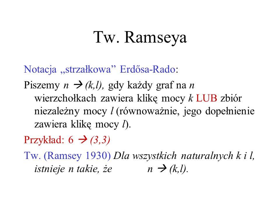 """Tw. Ramseya Notacja """"strzałkowa Erdősa-Rado:"""