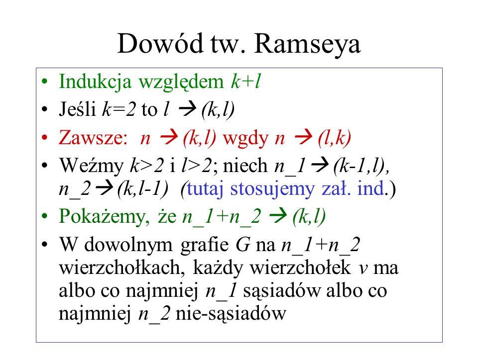 Dowód tw. Ramseya Indukcja względem k+l Jeśli k=2 to l  (k,l)