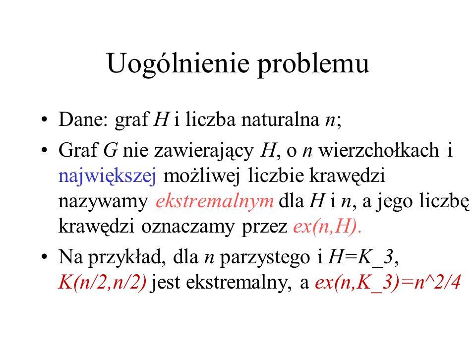 Uogólnienie problemu Dane: graf H i liczba naturalna n;