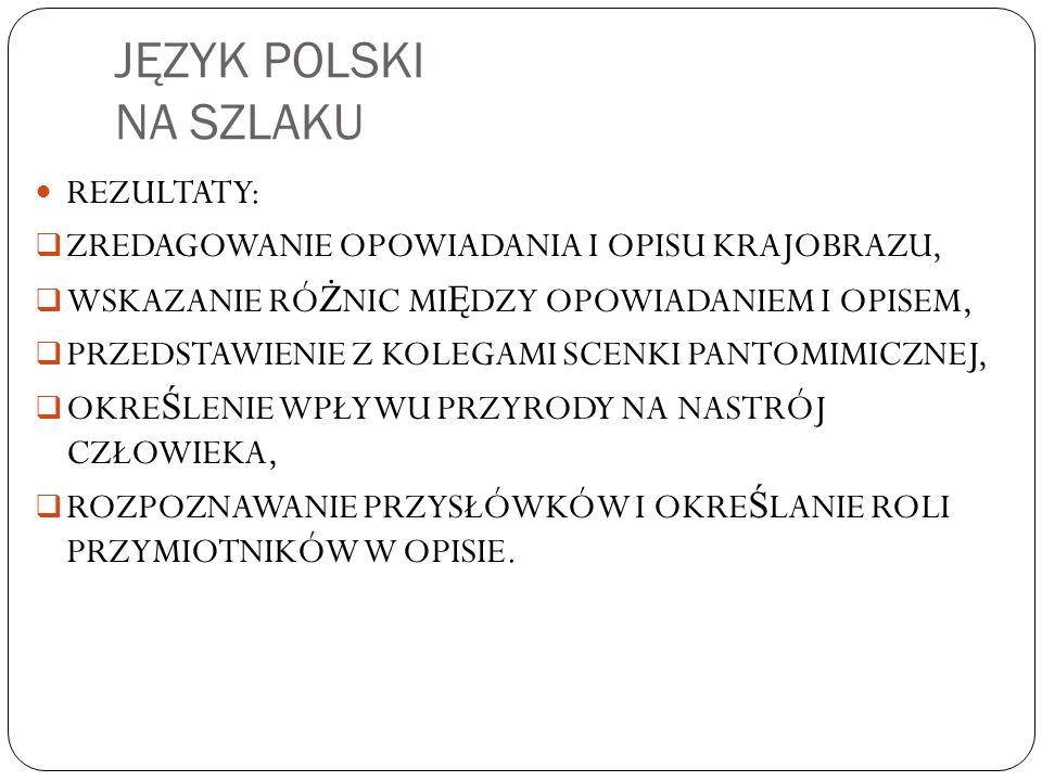 JĘZYK POLSKI NA SZLAKU REZULTATY: