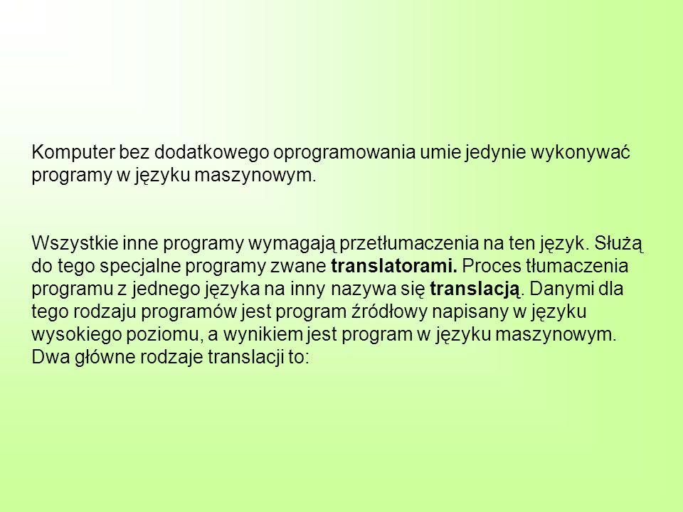 Komputer bez dodatkowego oprogramowania umie jedynie wykonywać programy w języku maszynowym.