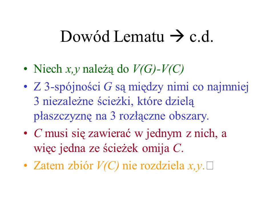 Dowód Lematu  c.d. Niech x,y należą do V(G)-V(C)