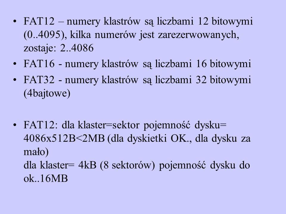 FAT12 – numery klastrów są liczbami 12 bitowymi (0