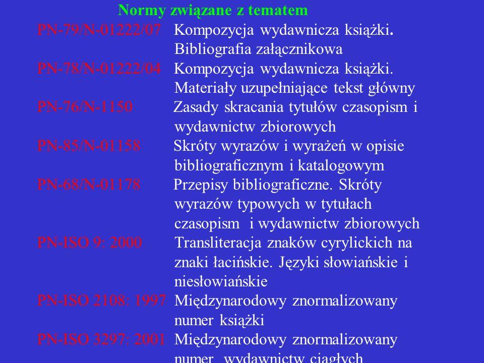 Normy związane z tematem PN-79/N-01222/07 Kompozycja wydawnicza książki.